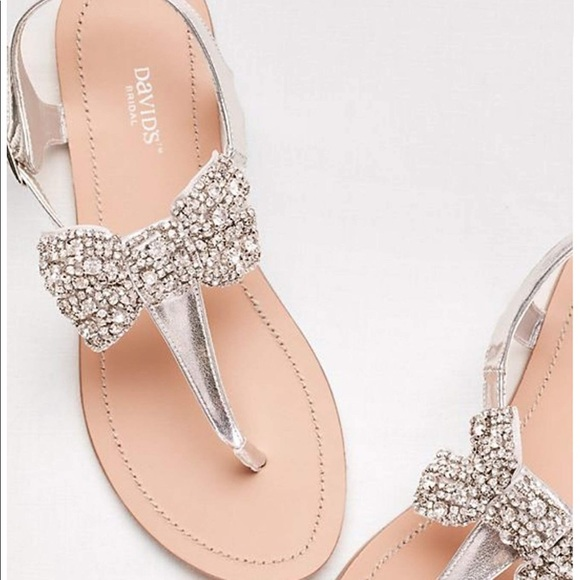 4603ff316 David s Bridal Rhinestone Bow Sandals